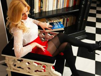 Sexy elegant Mistress DominantMiss @CamContacts in deadly black nylon pantyhose