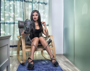 Abusive Dominatrix trains her slaves as new dog pets